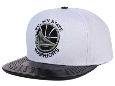 Golden State Warriors Pro Standard NBA White Black Leather Strapback Hat