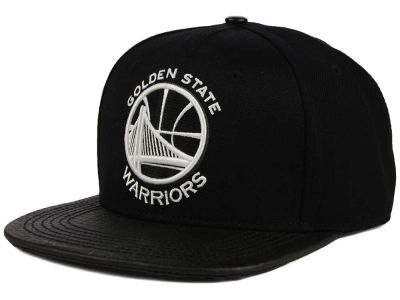 Golden State Warriors Pro Standard NBA Black on Black Leather Strapback Cap