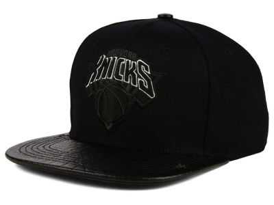 New York Knicks Pro Standard NBA Black on Black Leather Strapback Cap
