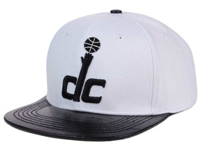 Washington Wizards Pro Standard NBA White Black Leather Strapback Hat