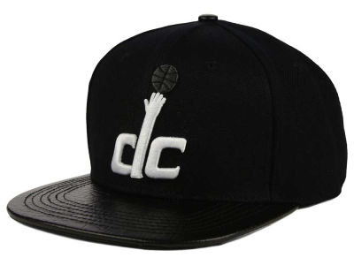 Washington Wizards Pro Standard NBA Black on Black Leather Strapback Cap