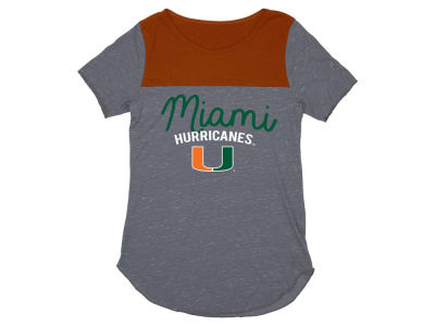 Miami Hurricanes Blue 84 NCAA Women's Confetti Yolk Block T-Shirt