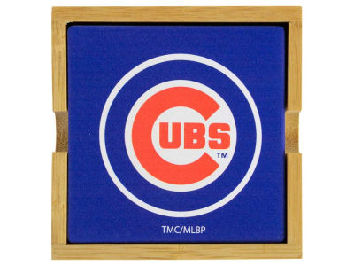 Chicago Cubs 4-pack Square Coaster w/ Caddy
