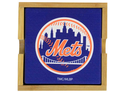 New York Mets 4-pack Square Coaster w/ Caddy