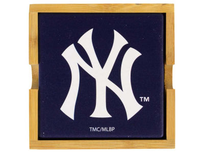 New York Yankees 4-pack Square Coaster w/ Caddy
