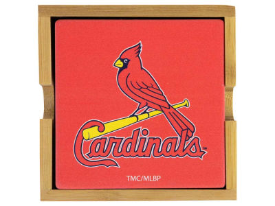 St. Louis Cardinals 4-pack Square Coaster w/ Caddy