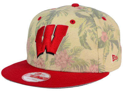 Wisconsin Badgers New Era NCAA Faded Trop 9FIFTY Snapback Cap