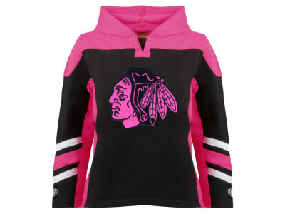 Chicago Blackhawks Old Time Hockey NHL Youth Girls Blush Hoodie