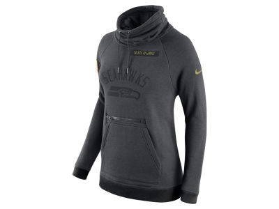 Seattle Seahawks Nike NFL Women's Salute to Service Funnel Neck Pullover Sweatshirt