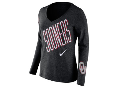 Oklahoma Sooners Nike NCAA Women's Triblend Mid-V Long Sleeve T-Shirt
