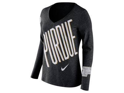 Purdue Boilermakers Nike NCAA Women's Triblend Mid-V Long Sleeve T-Shirt