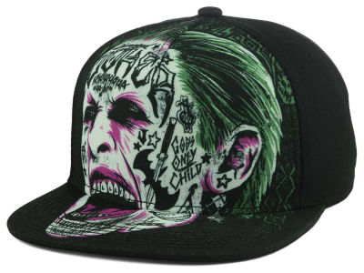 DC Comics Suicide Squad Joker Tatted Face Snapback Cap