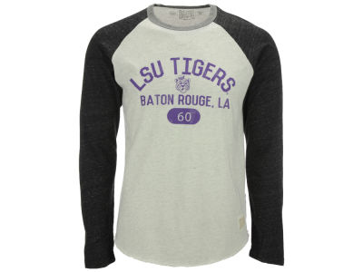 LSU Tigers Retro Brand NCAA Men's Retro Lou Tri-Color Reglan Long Sleeve T-Shirt
