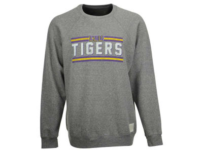 LSU Tigers Retro Brand NCAA Men's Retro Drew Tri-Blend Fleece Crew Sweatshirt