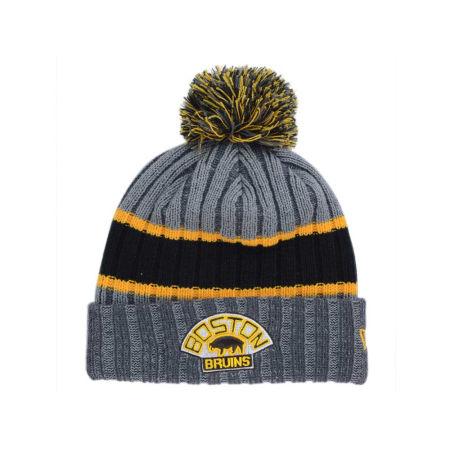 Boston Bruins New Era NHL Stripe Chiller Pom Knit