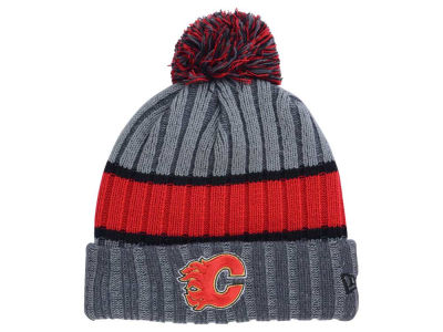 Calgary Flames New Era NHL Stripe Chiller Pom Knit