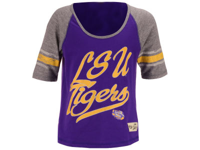 LSU Tigers Outerstuff NCAA Youth Girls Hi-Lo Raglan Football T-Shirt