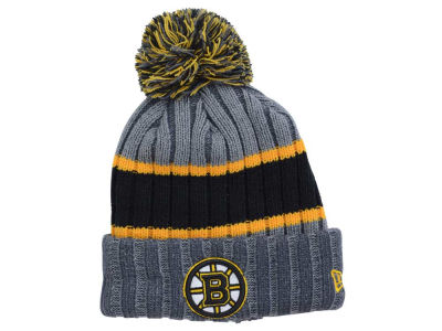 Boston Bruins New Era NHL Youth Stripe Chiller Pom Knit