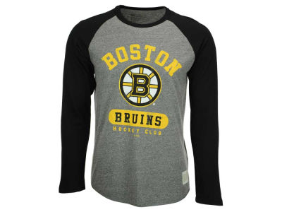Boston Bruins Retro Brand NHL Men's Tri-Blend Raglan Long Sleeve T-Shirt