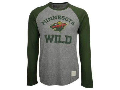 Minnesota Wild Retro Brand NHL Men's Tri-Blend Raglan Long Sleeve T-Shirt