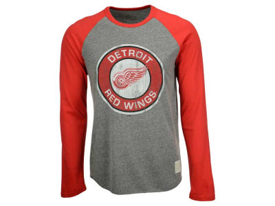Detroit Red Wings Retro Brand NHL Men's Tri-Blend Raglan Long Sleeve T-Shirt