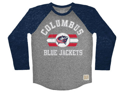 Columbus Blue Jackets Retro Brand NHL Men's Tri-Blend Raglan Long Sleeve T-Shirt