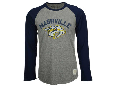 Nashville Predators Retro Brand NHL Men's Tri-Blend Raglan Long Sleeve T-Shirt