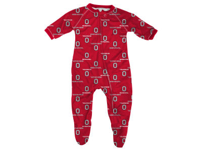 Ohio State Buckeyes Outerstuff NCAA Newborn All-Over Logo Raglan Full Zip Coverall