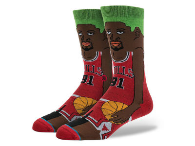 Chicago Bulls Dennis Rodman Stance Cartoon Legend Player Socks