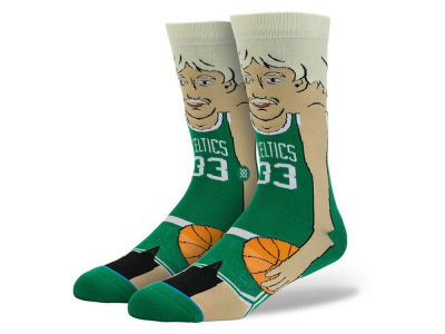 Boston Celtics Larry Bird Stance Cartoon Legend Player Socks
