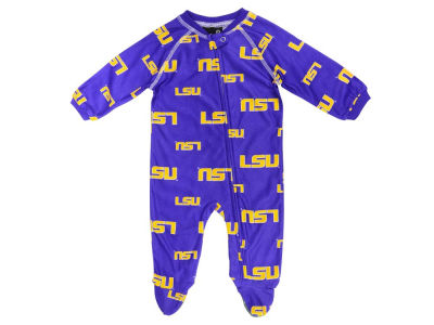 LSU Tigers Outerstuff NCAA Newborn All-Over Logo Raglan Full Zip Coverall