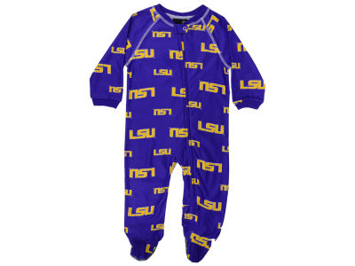 LSU Tigers Outerstuff NCAA Infant All-Over Logo Raglan Full Zip Coverall