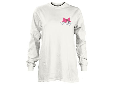 Ole Miss Rebels NCAA Women's Football Bow Long Sleeve T-Shirt