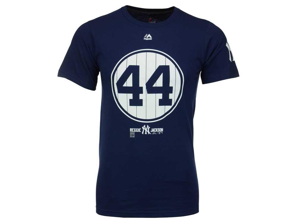 New York Yankees Reggie Jackson Majestic MLB Men s Cooperstown Pinstripe  Number T-Shirt  317b847229f
