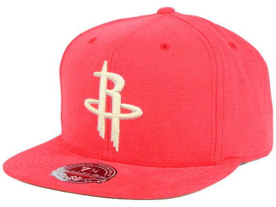 Houston Rockets Mitchell and Ness NBA Sandy Off White Logo Fitted Cap