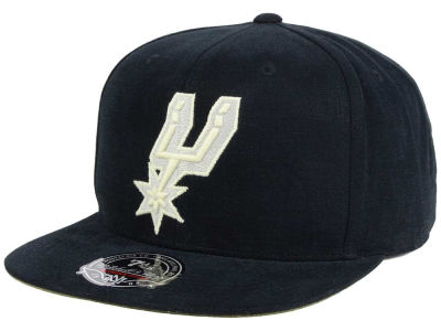 San Antonio Spurs Mitchell & Ness NBA Sandy Off White Logo Fitted Cap
