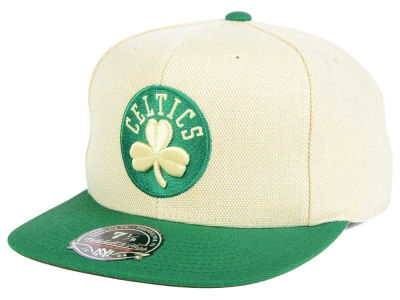 Boston Celtics Mitchell and Ness NBA Cream Oxford Fitted Cap