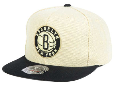 Brooklyn Nets Mitchell and Ness NBA Cream Oxford Fitted Cap