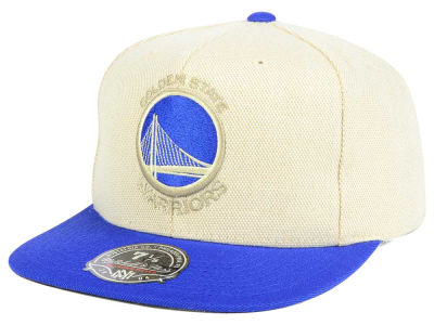 Golden State Warriors Mitchell and Ness NBA Cream Oxford Fitted Cap