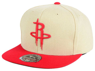 Houston Rockets Mitchell and Ness NBA Cream Oxford Fitted Cap
