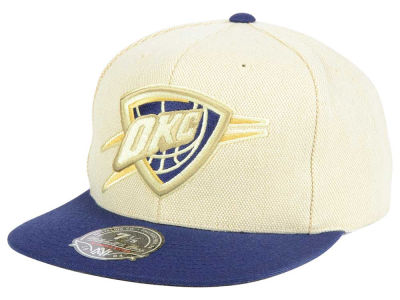 Oklahoma City Thunder Mitchell and Ness NBA Cream Oxford Fitted Cap