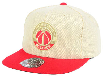 Washington Wizards Mitchell and Ness NBA Cream Oxford Fitted Cap