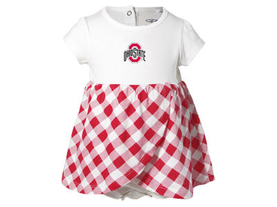 Ohio State Buckeyes NCAA Newborn Girls Miranda Gingham Dress