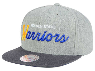 Golden State Warriors Mitchell and Ness NBA Tri Pop Special Script Snapback Cap