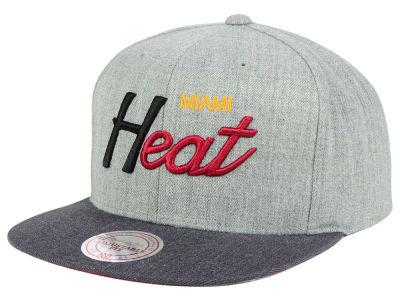 Miami Heat Mitchell and Ness NBA Tri Pop Special Script Snapback Cap