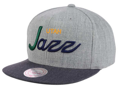 Utah Jazz Mitchell and Ness NBA Tri Pop Special Script Snapback Cap