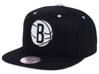 Brooklyn Nets Mitchell and Ness NBA Solid Velour Logo Snapback Cap