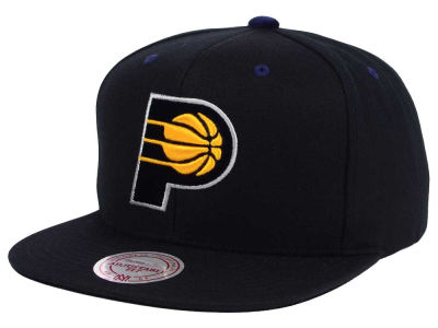 Indiana Pacers Mitchell and Ness NBA Solid Velour Logo Snapback Cap