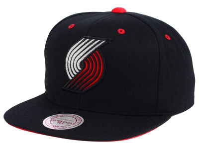 Portland Trail Blazers Mitchell and Ness NBA Solid Velour Logo Snapback Cap