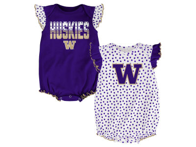 Washington Huskies NCAA Newborn Girls Polka Fan Set